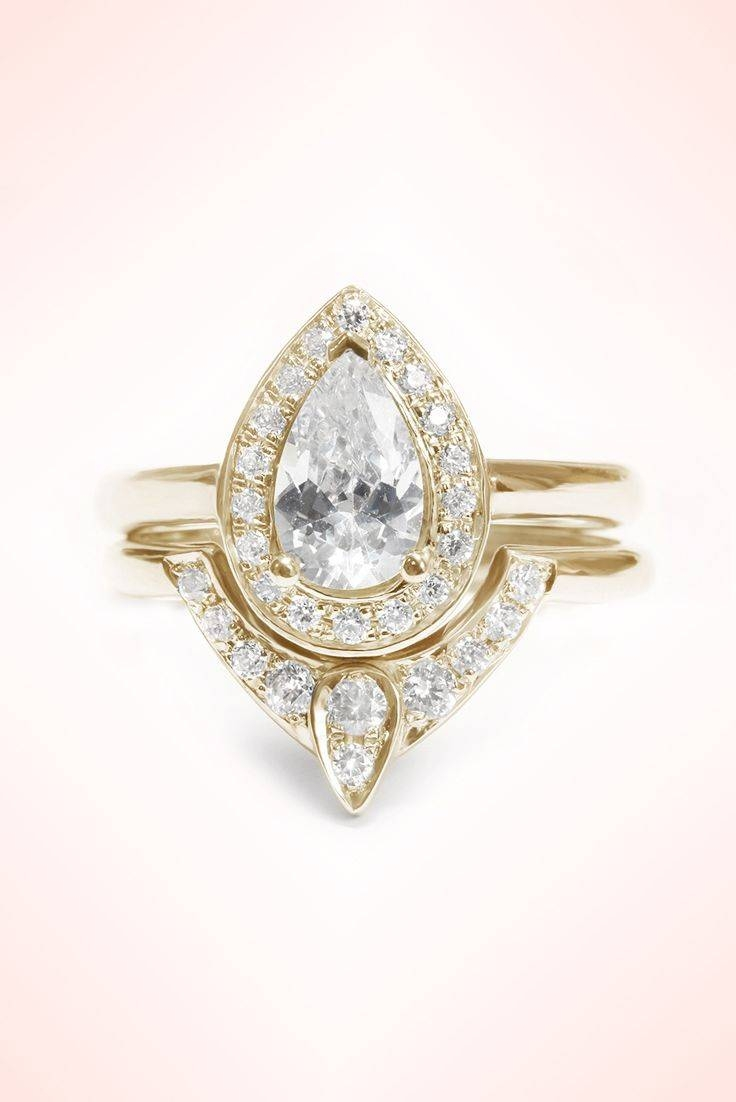 1496 Best Sparkle Rings Images On Pinterest | Rings, Jewelry Intended For Pear Shaped Engagement Rings And Wedding Bands (View 2 of 15)