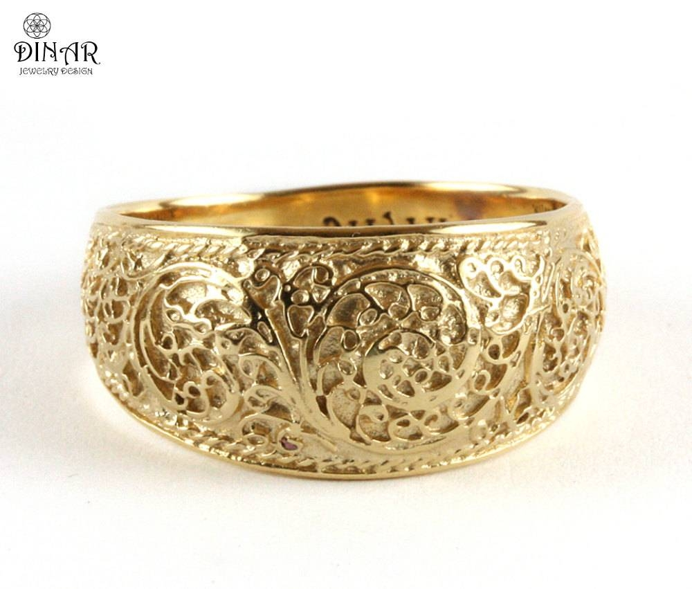 14K Filigree Wedding Band Vintage Wedding Ring Scrolls Men For Women's Wide Wedding Bands (View 1 of 15)