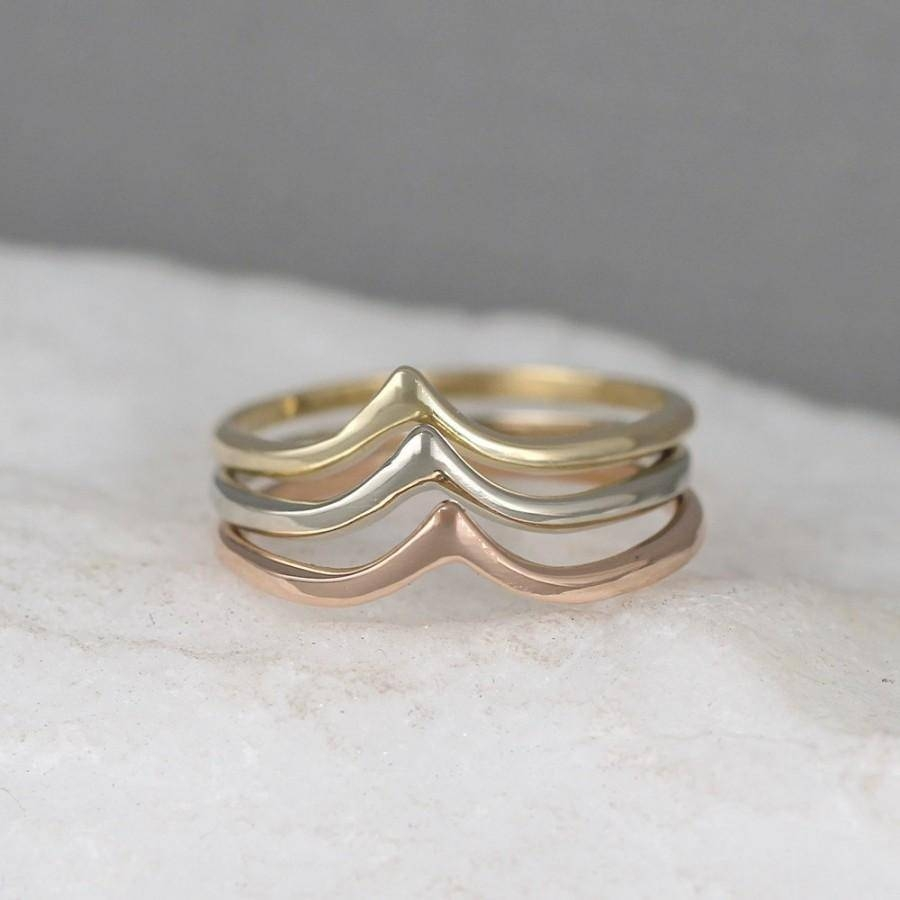 14K Gold Chevron V Ring – Yellow White Or Rose Gold – Wedding Band Within Chevron Wedding Bands (View 1 of 15)
