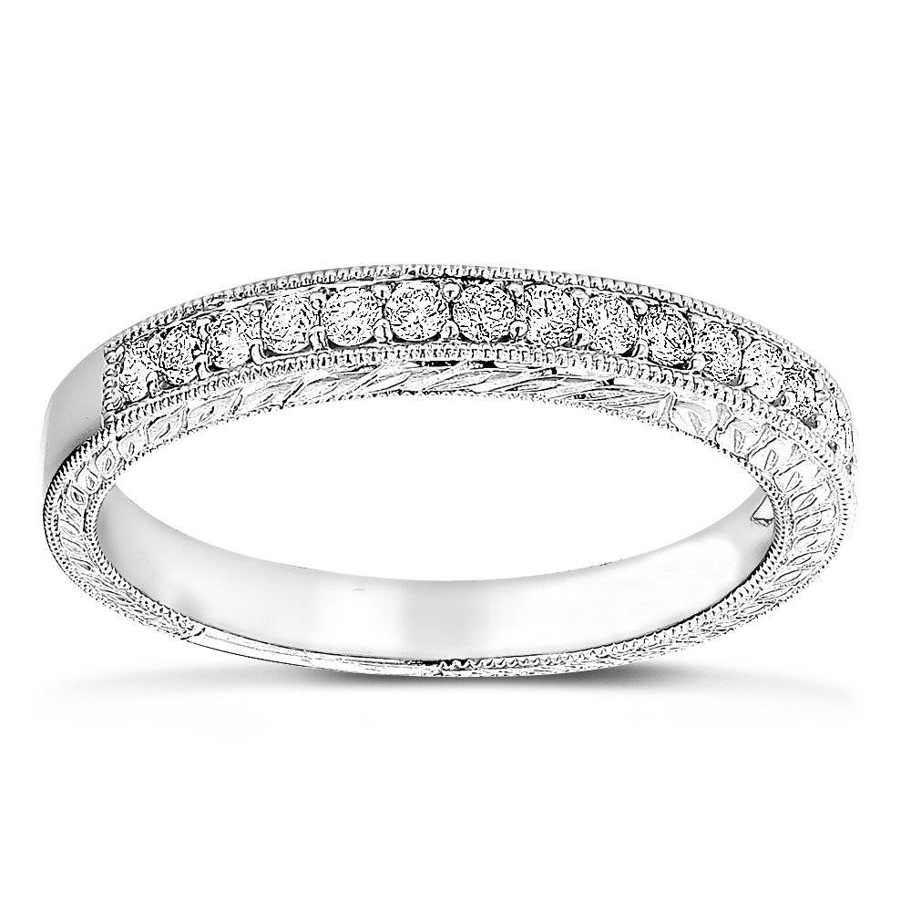 14K Gold Diamond Wedding Band For Women Vintage Filigree Look 1/2Ct In Skinny Diamond Wedding Bands (View 2 of 15)