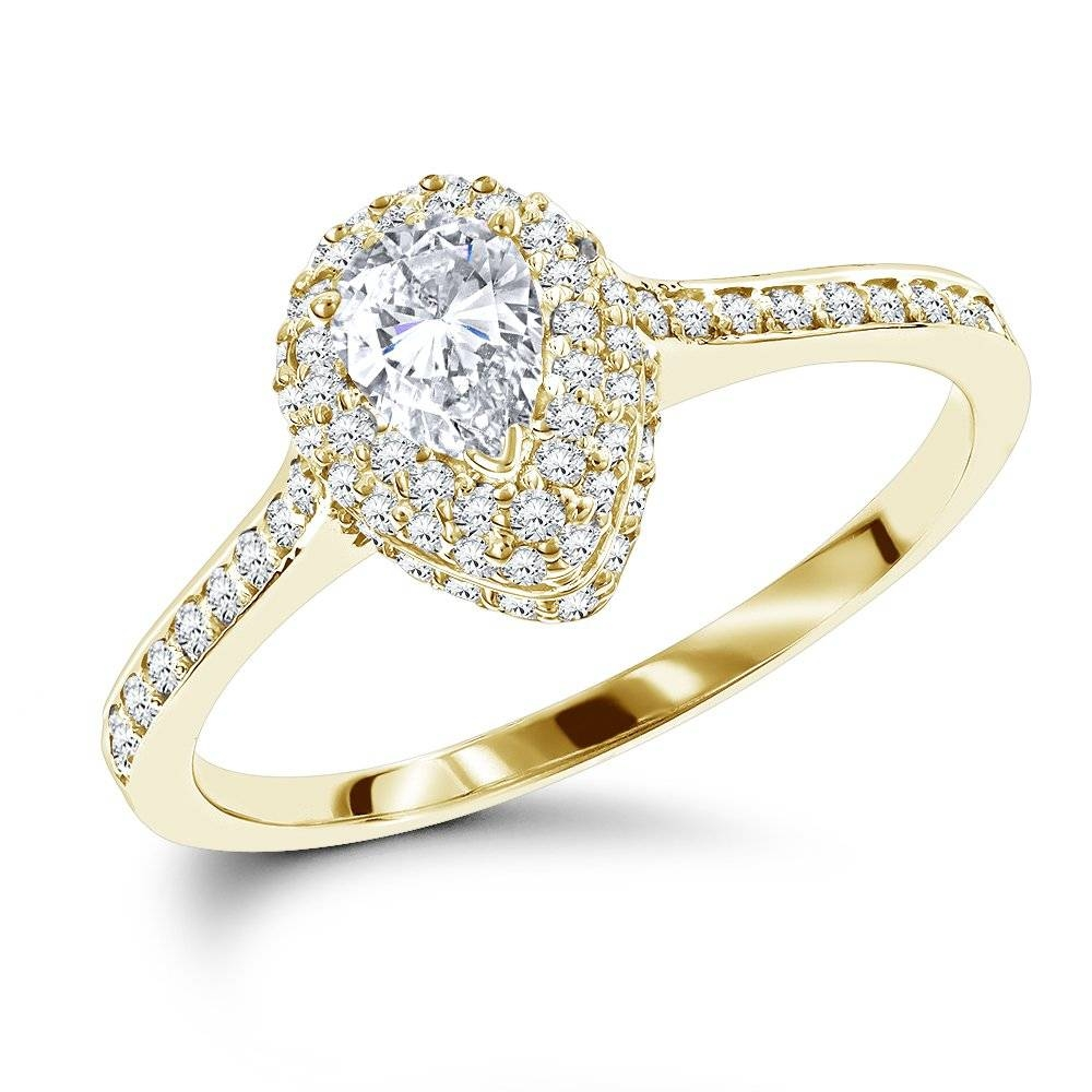 14K Gold Pear Shaped Diamond Engagement Ring 1 Carat Halo Setting Intended For Pear Shaped Settings Engagement Rings (View 1 of 15)