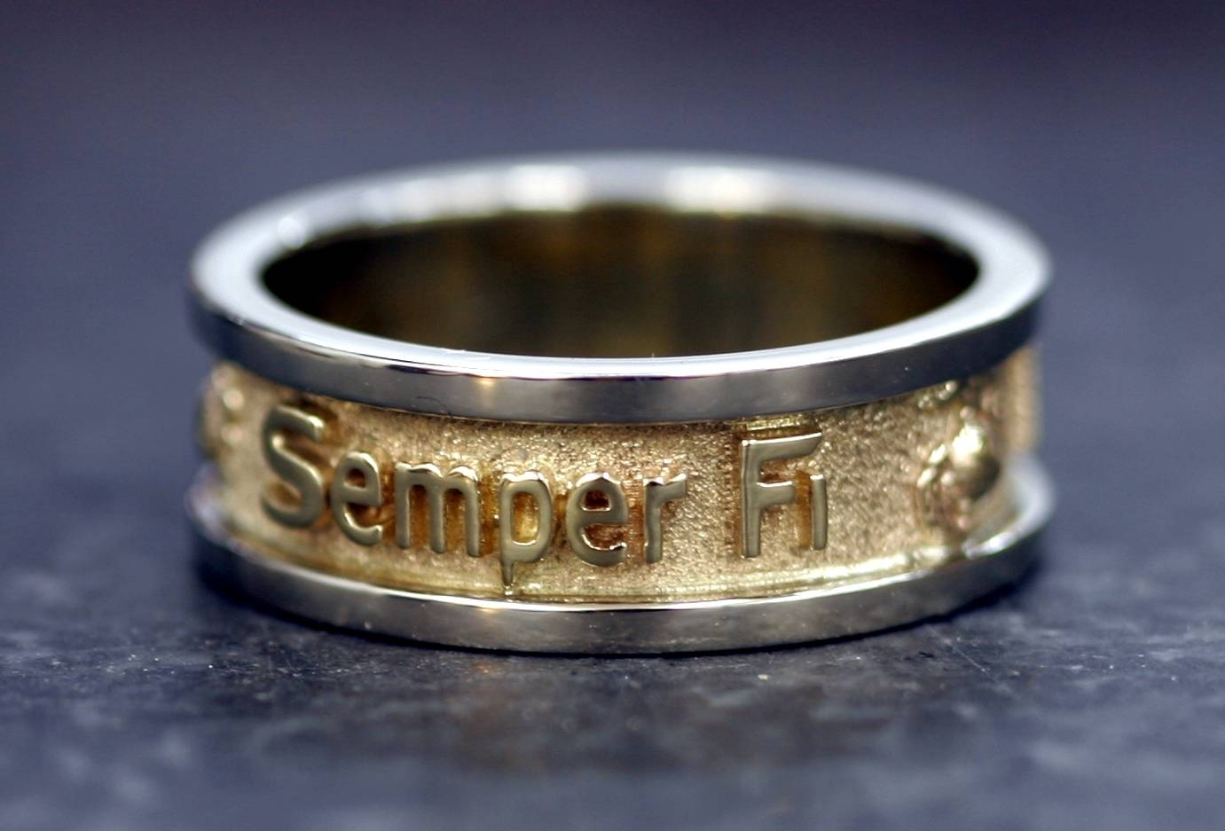 14K Gold Two Tone Marine Corps Wedding Band $ (View 1 of 15)