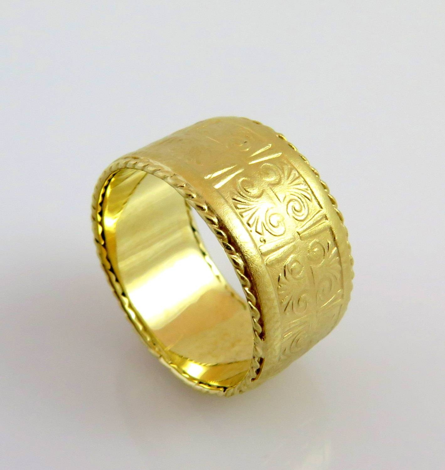 14K Gold Wedding Band Pattern Ring Egyptian Ring Unique Pertaining To Wide Wedding Rings (View 1 of 15)