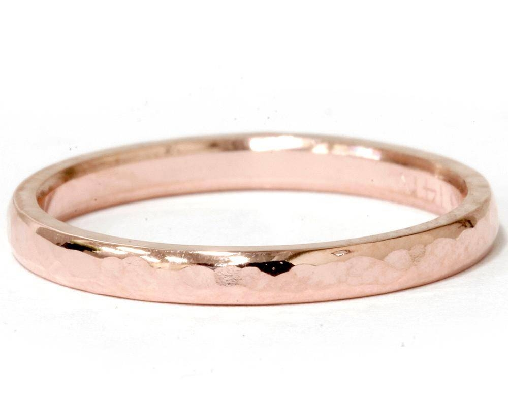 14K Hammered Rose Gold Womens Wedding Band Rose Gold Wedding Band With Hammered Rose Gold Wedding Bands (View 1 of 15)