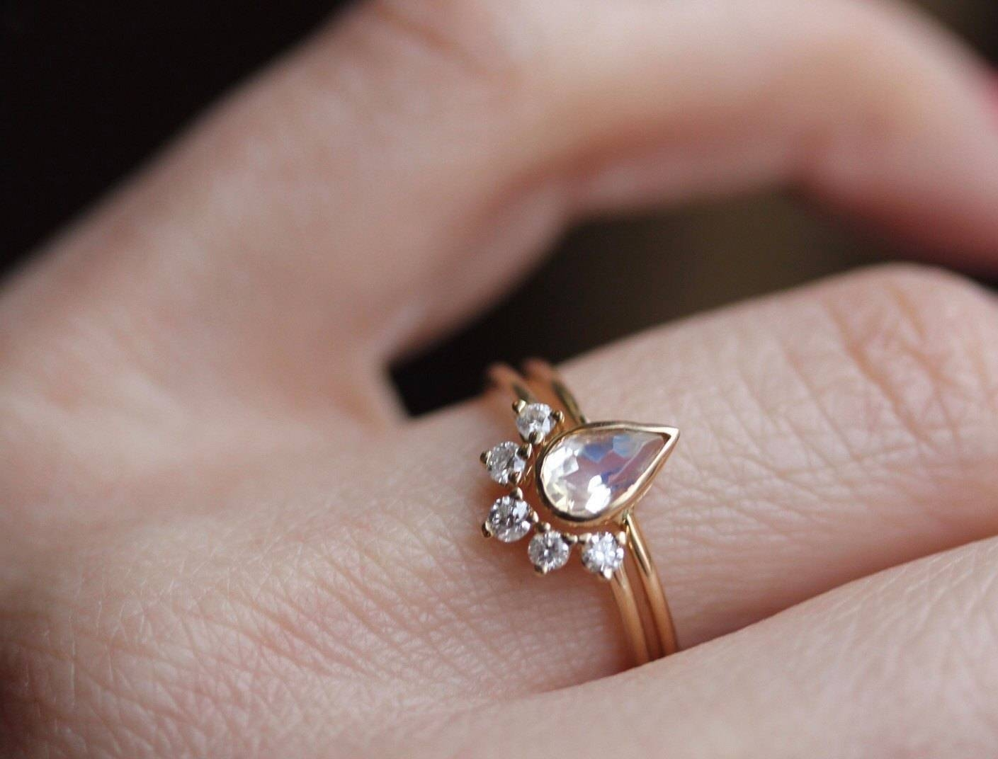 14K Moonstone Wedding Set, Moonstone Engagement Ring Set Throughout Wrap Around Wedding Bands (Gallery 9 of 15)