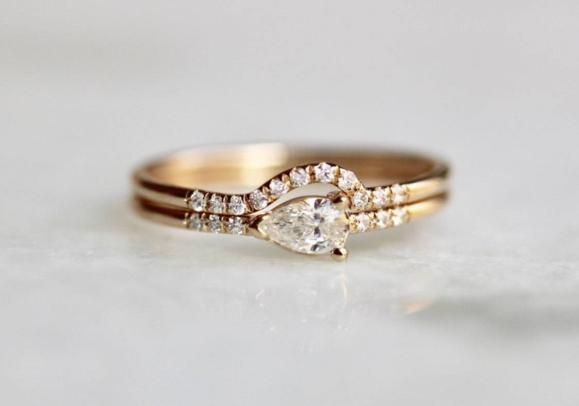 14K Pear Diamond Engagement Ring Set, Wrap Around Wedding Band Inside Engagement Rings Wrap Around Band (View 1 of 15)