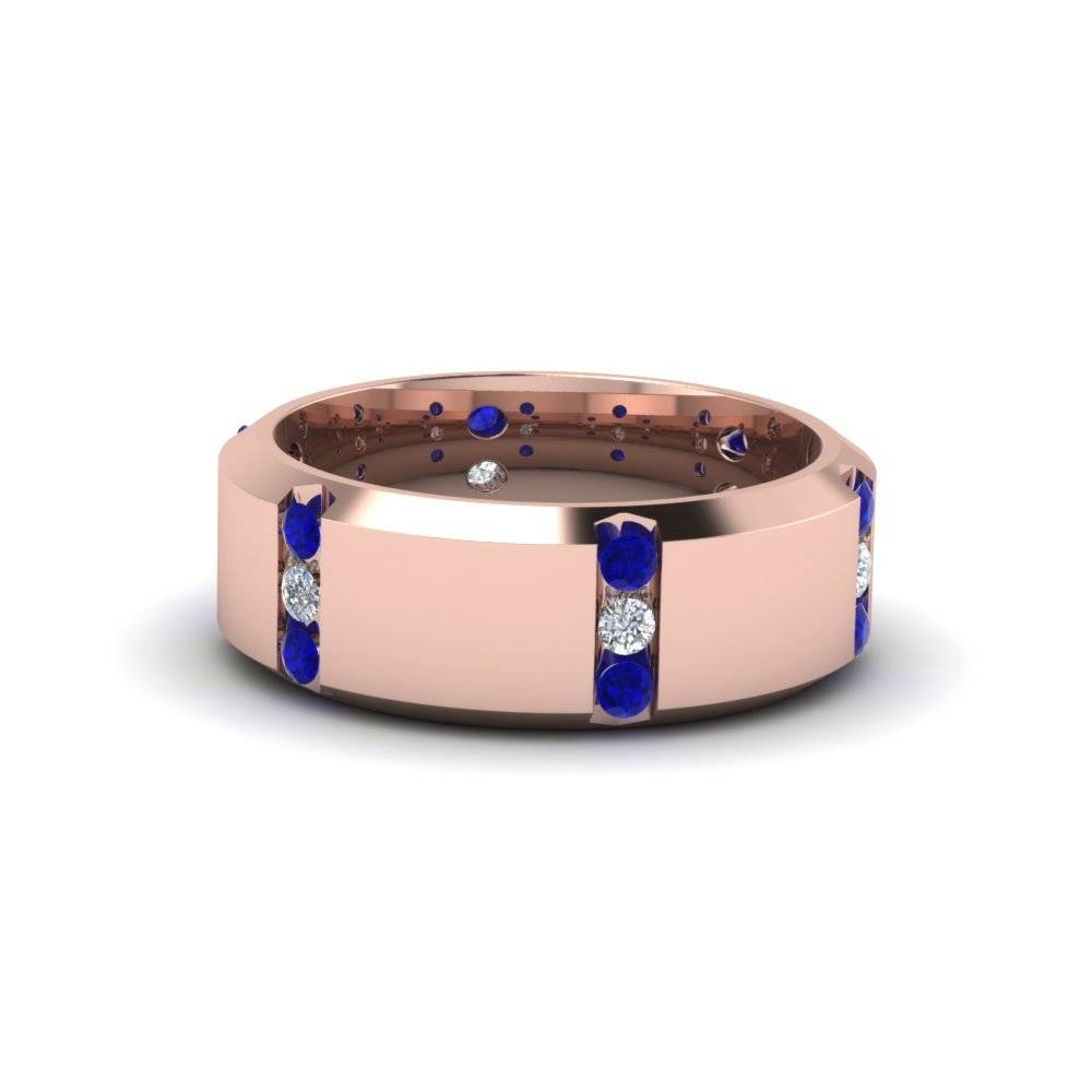 14k Rose Gold Blue Sapphire Men's Wedding Band | Fascinating Diamonds Pertaining To Male Rose Gold Wedding Bands (View 13 of 15)