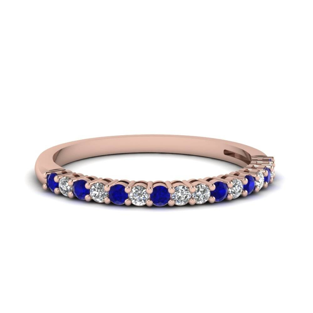 14K Rose Gold Blue Sapphire Wedding Band | Fascinating Diamonds Regarding Blue Sapphire And Diamond Wedding Bands (View 2 of 15)