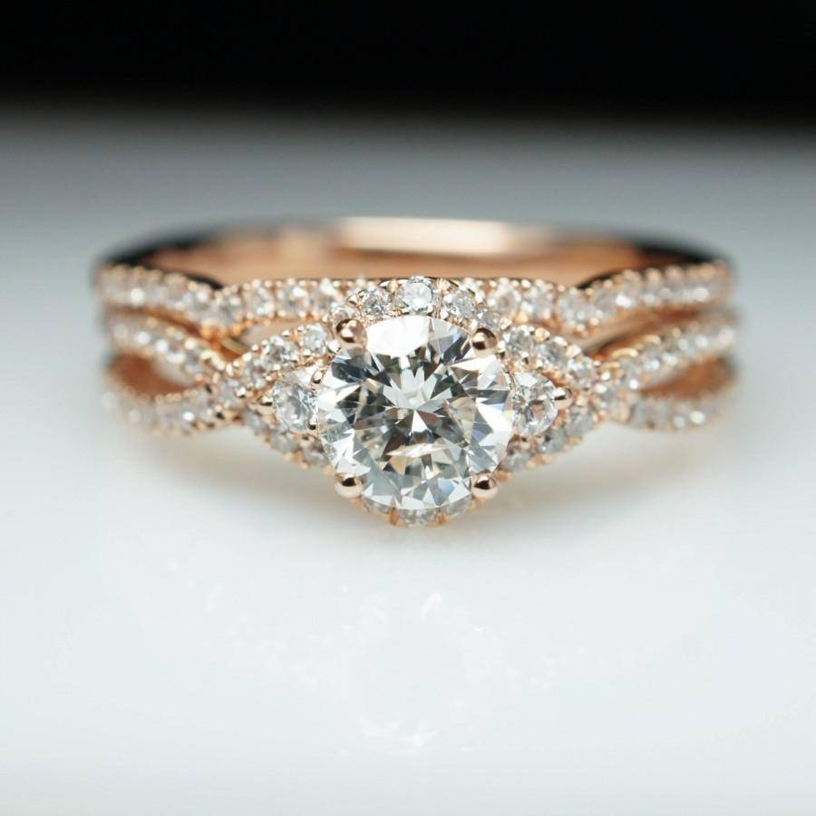 14K Rose Gold Diamond Halo Engagement Ring & Wedding Band Set Inside Gold Engagement Rings And Wedding Bands (View 1 of 15)