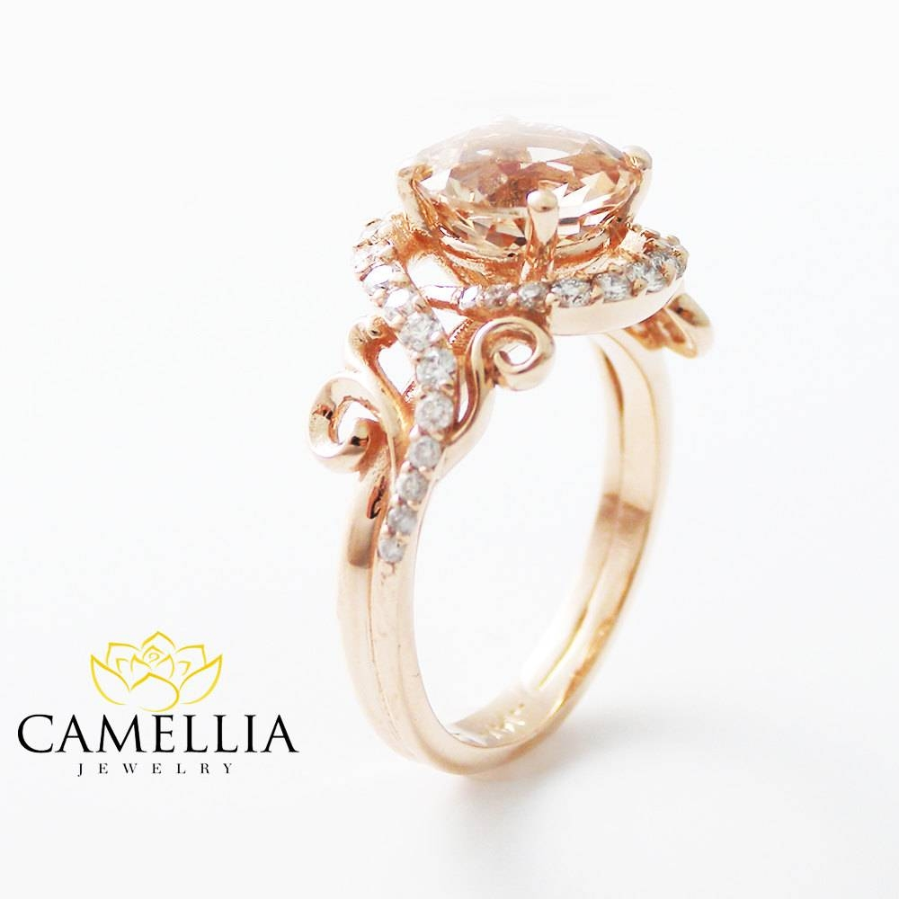 14k Rose Gold Engagement Ring Rose Gold Morganite Ring Peach Throughout Wedding Rings That Looks Like A Rose (View 4 of 15)