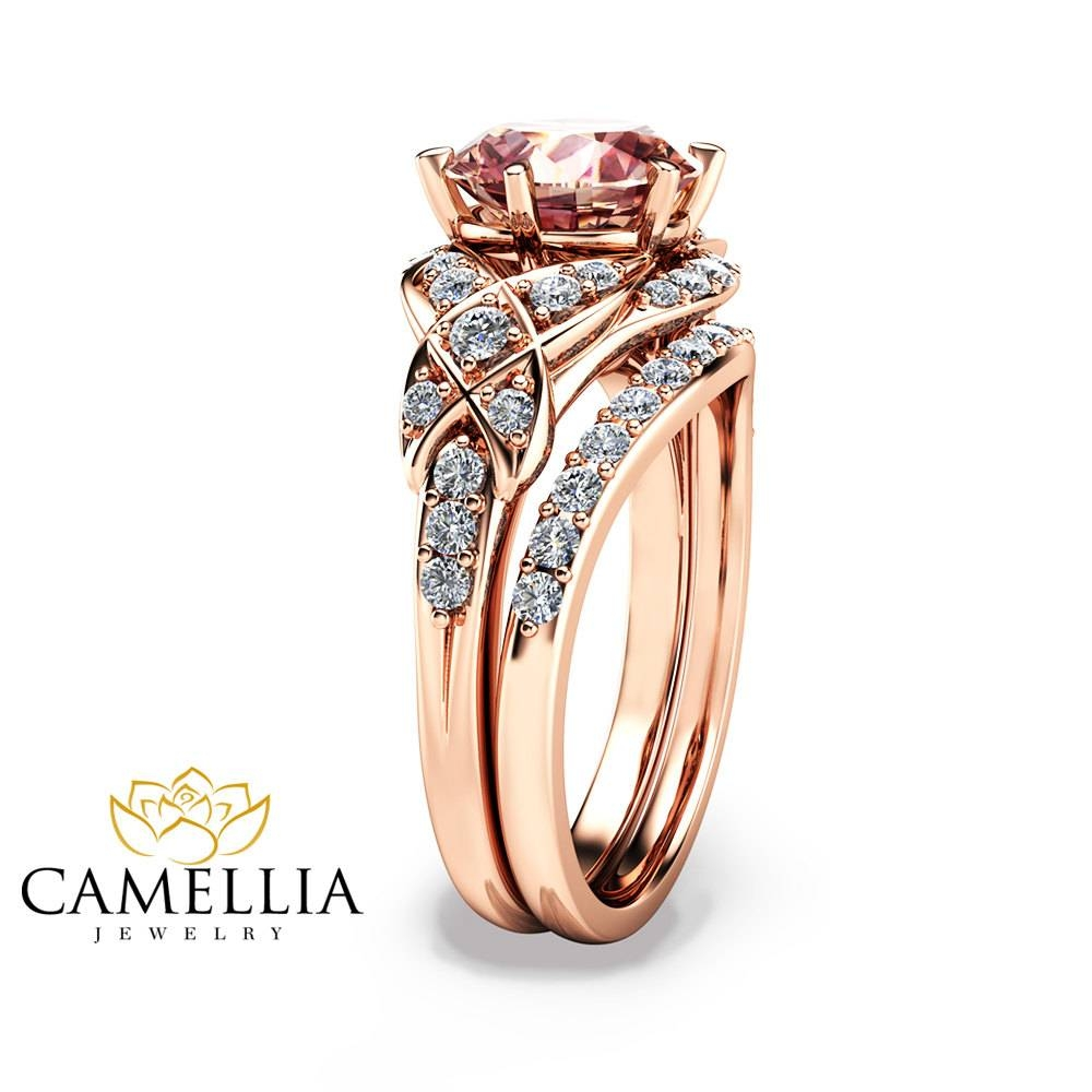 14K Rose Gold Engagement Ring Rose Gold Morganite Wedding With Gold Rose Wedding Rings (View 1 of 15)