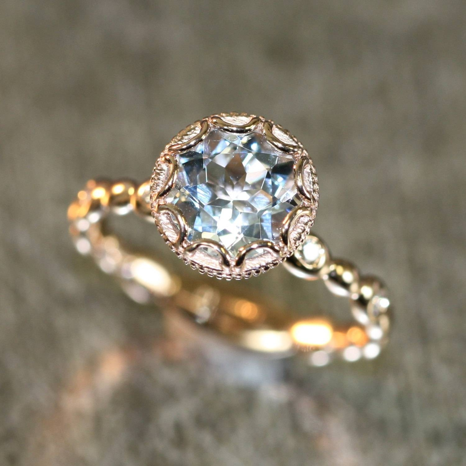 14k Rose Gold Floral Aquamarine Engagement Ring In Pebble Pertaining To Vintage Engagement Rings Northern Ireland (View 10 of 15)