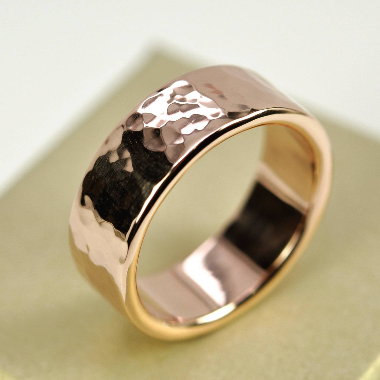 14K Rose Gold Mens Wedding Band Hammered Gold Ring 8Mm Wide Within Hammered Rose Gold Wedding Bands (View 2 of 15)