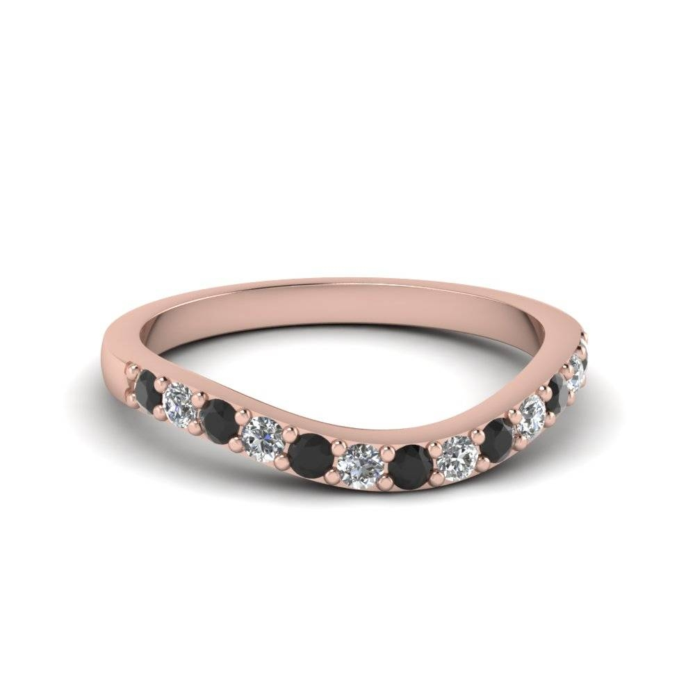 14K Rose Gold Prong Black Diamond Wedding Band | Fascinating Diamonds Within Black Diamond Wedding Bands For Women (View 1 of 15)