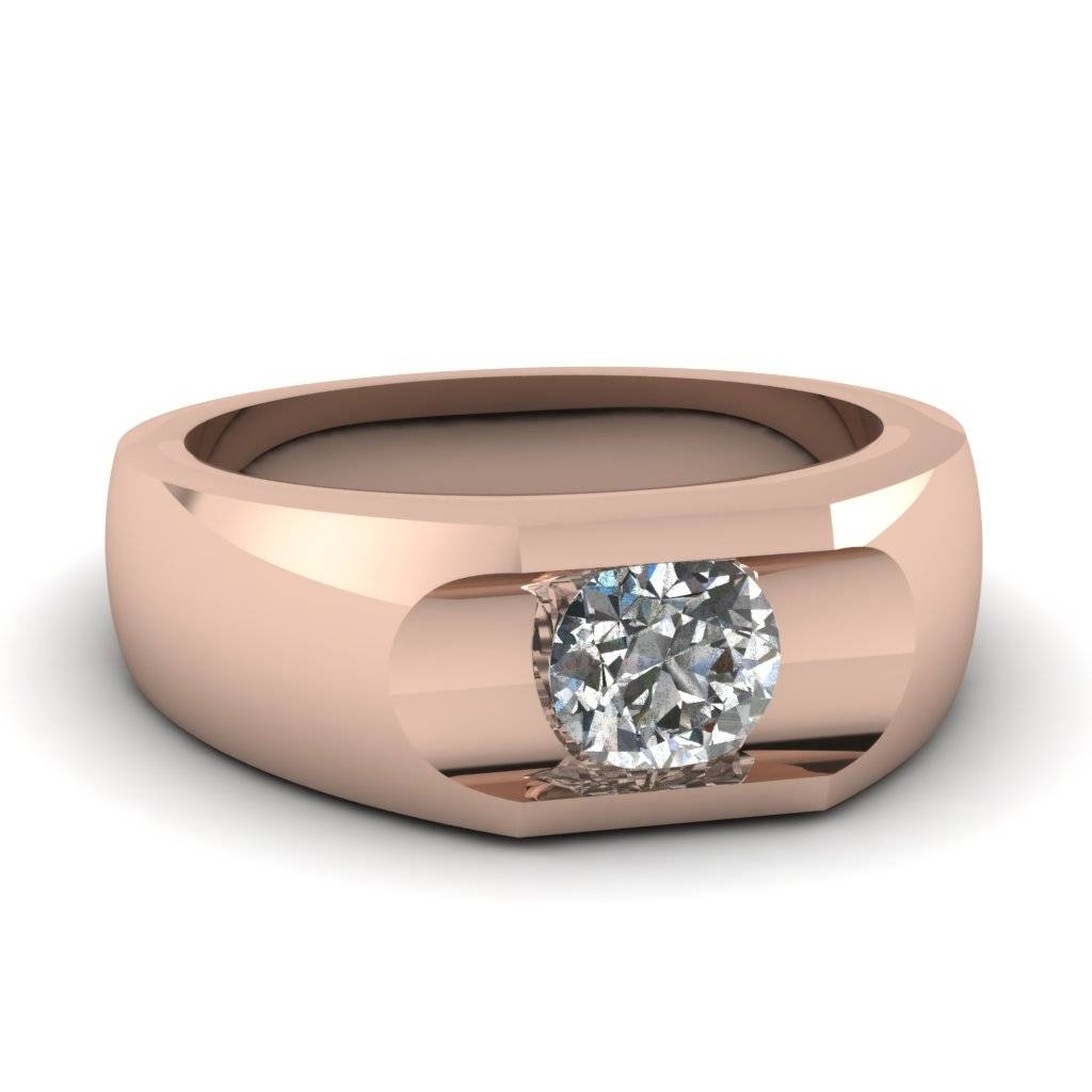 14K Rose Gold Round Cut Men's Wedding Ring | Fascinating Diamonds For Rose Gold Men's Wedding Bands With Diamonds (View 1 of 15)