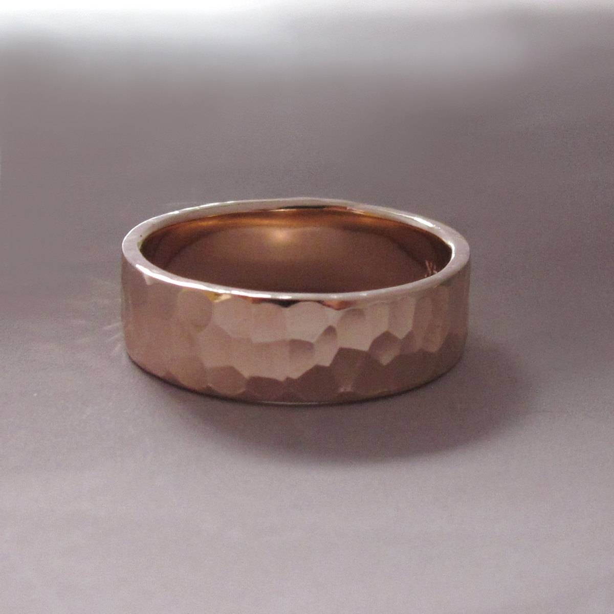 14K Rose Gold Wedding Ring Hammered Polished Or Matte Pertaining To Hammered Rose Gold Wedding Bands (View 3 of 15)