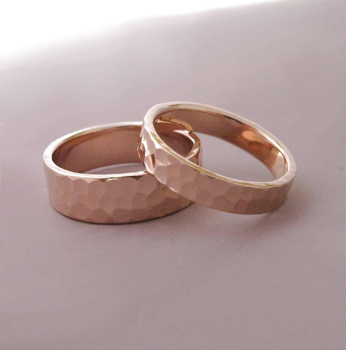 14K Rose Gold Wedding Rings Hammered Recycled Gold 4 And In Hammered Rose Gold Wedding Bands (View 4 of 15)