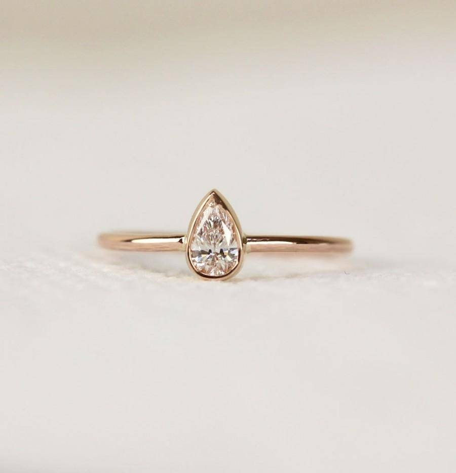 14K Solid Gold Pear Shape Diamond Engagement Ring In Bezel Set Regarding Pear Bezel Engagement Rings (View 1 of 15)