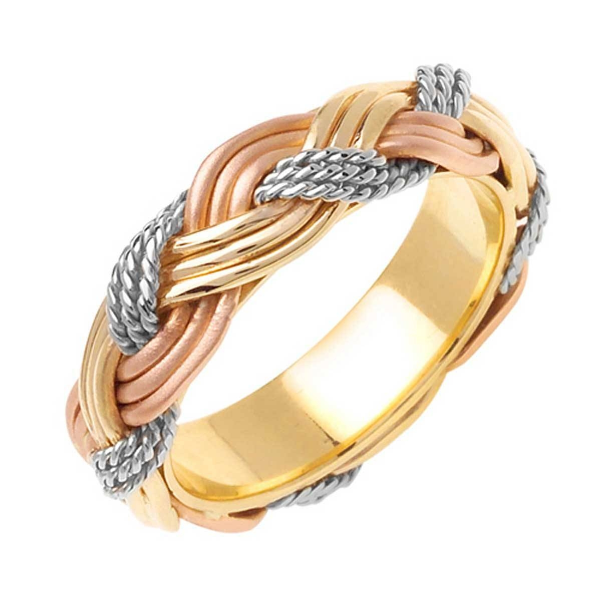 14k Tri Color Gold African Braid Band 6mm 3002747 – Shop At Regarding Three Color Braided Wedding Bands (View 3 of 15)