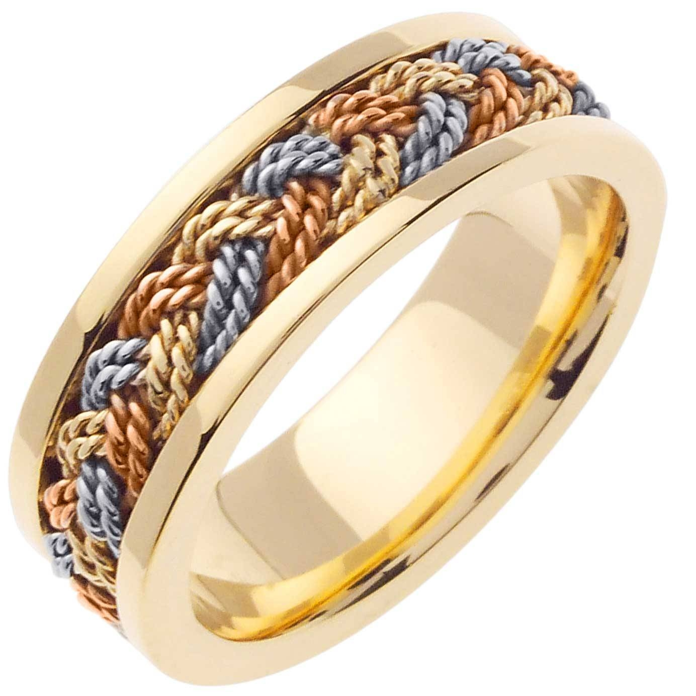 14K Tri Color Gold African Braid Band 7Mm  3000196 – Shop At Inside Custom Wedding Band To Fit Engagement Rings (View 1 of 15)