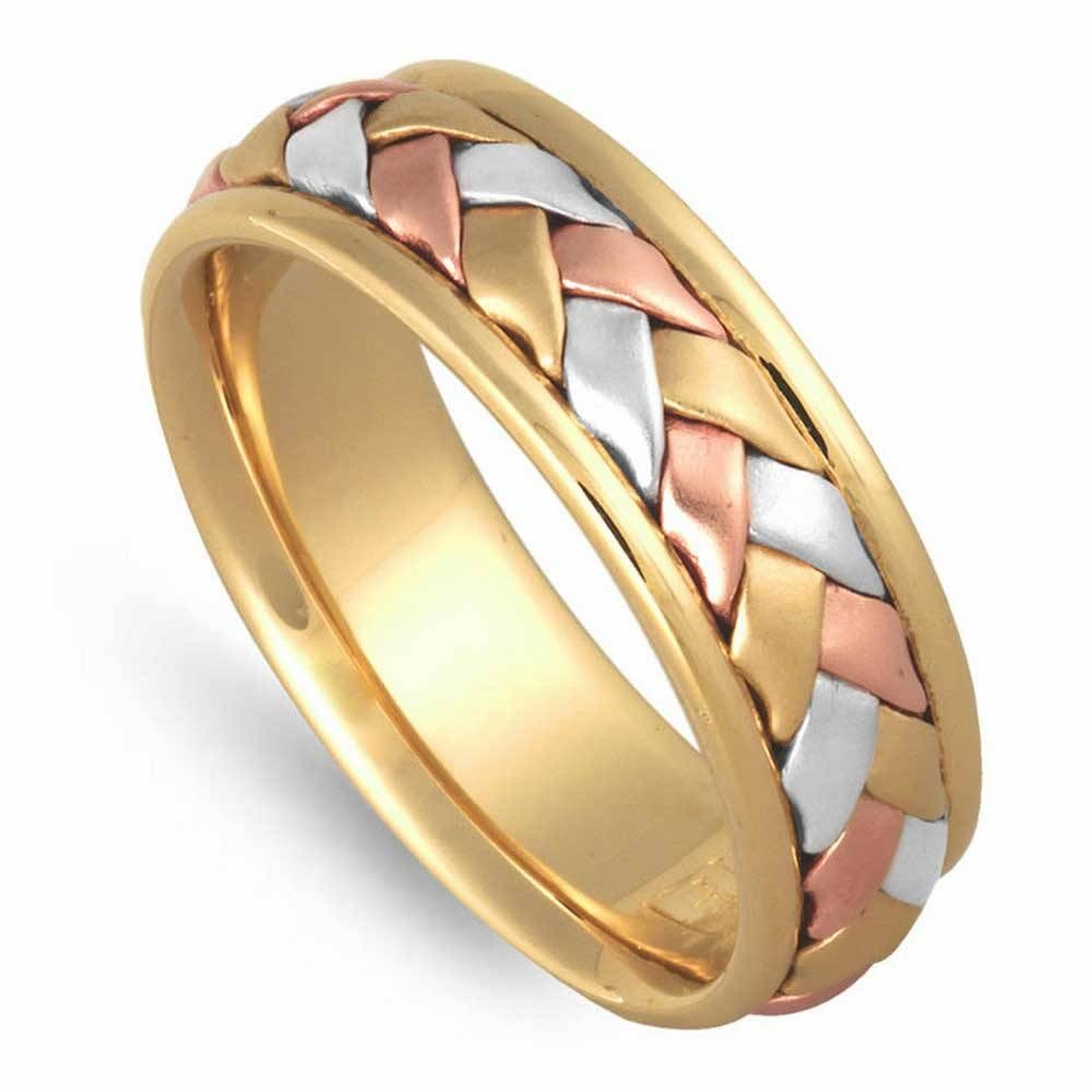 14k Tri Color Gold Basket Braid Band 7mm 3008657 – Shop At Intended For Three Color Braided Wedding Bands (View 11 of 15)