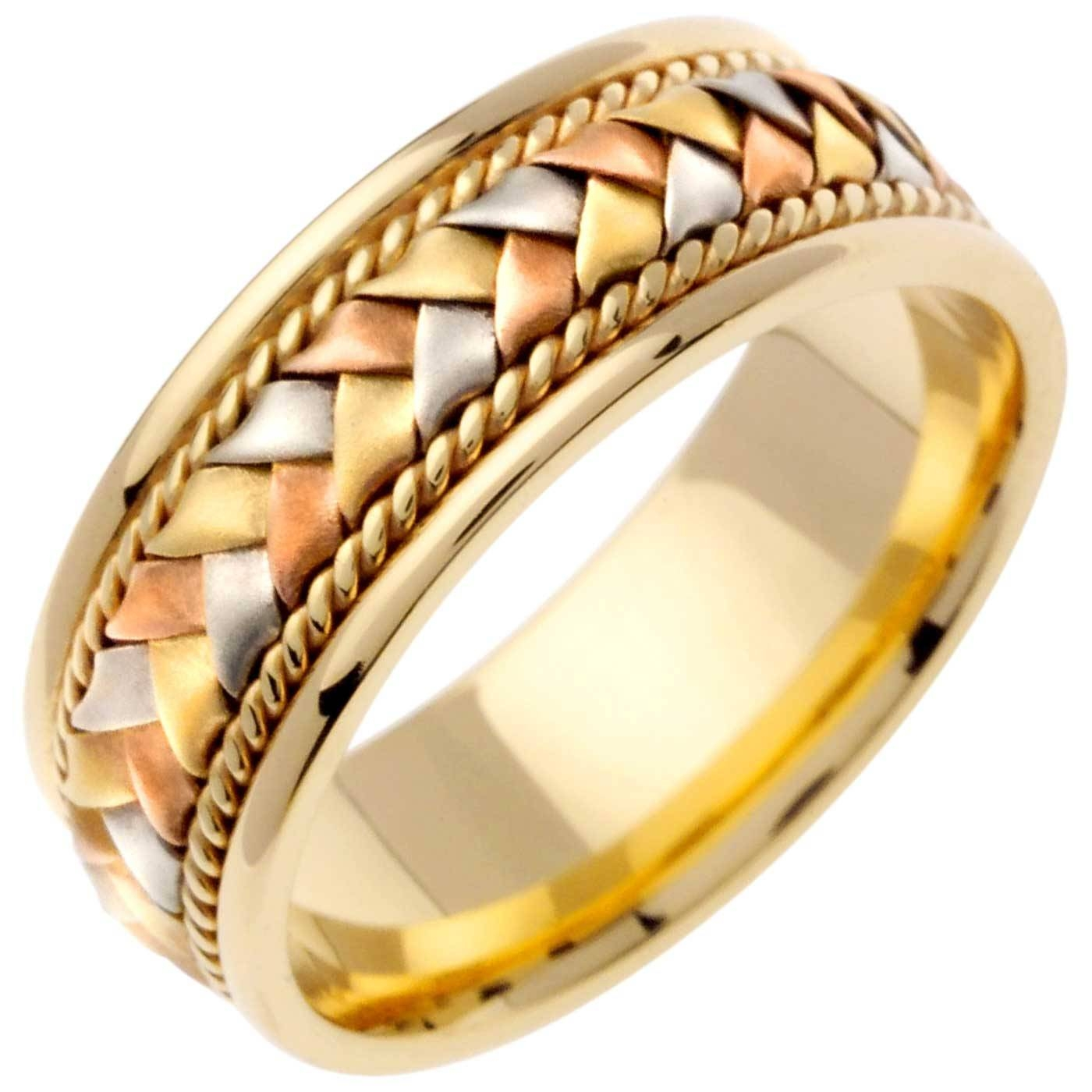 14K Tri Color Gold Basket Braid Band  (View 8 of 15)