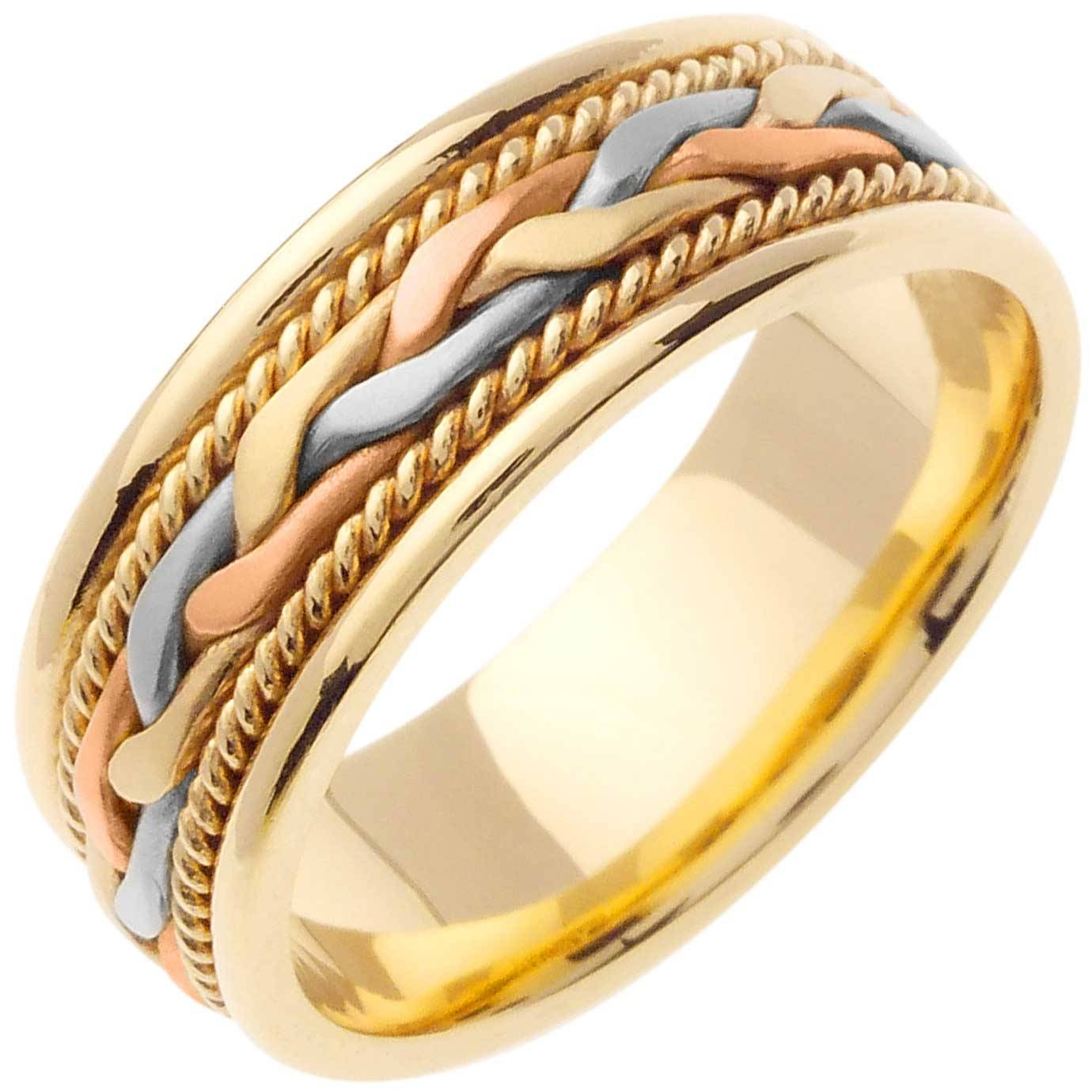 14k Tri Color Gold French Braid Band 7mm 3000182 – Shop At Intended For Three Color Braided Wedding Bands (View 2 of 15)