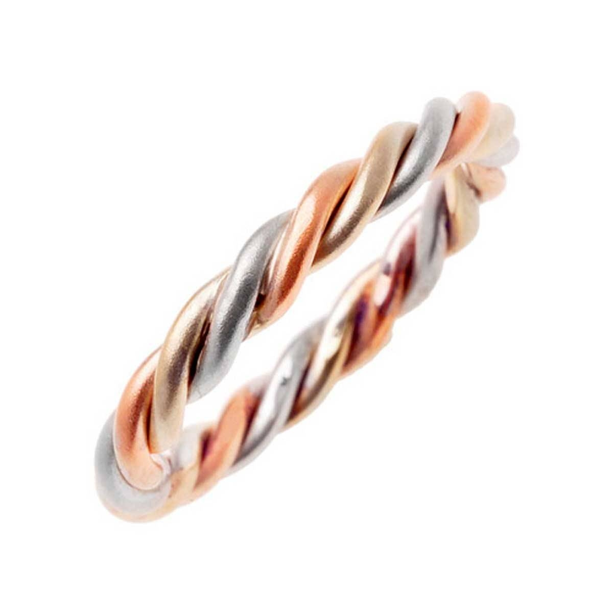 14K Tri Color Gold Rope Braid Band 3Mm  3002987 – Shop At Wedding With Three Color Braided Wedding Bands (View 10 of 15)