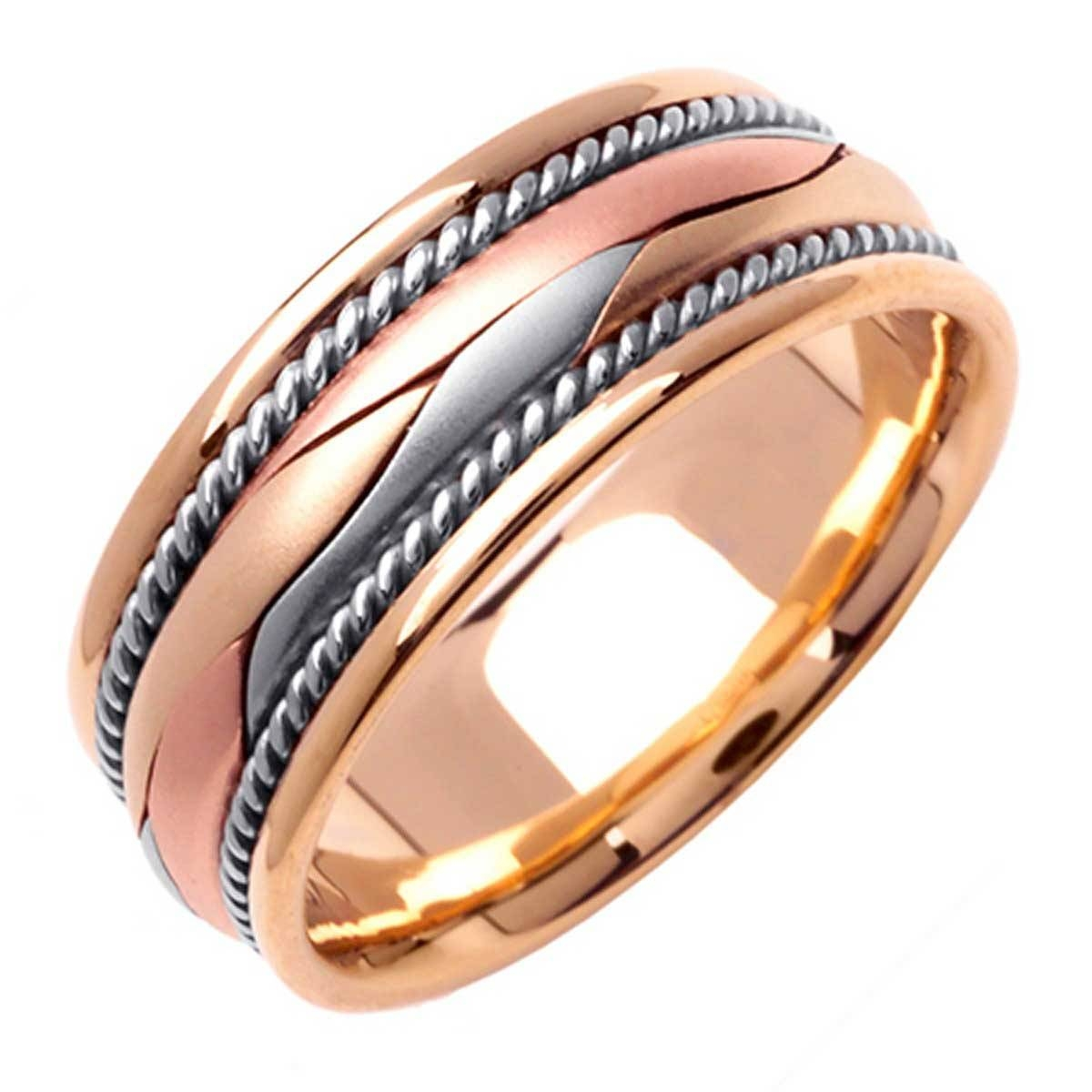 14k Tri Color Gold Rope Braid Band 8mm 3003002 – Shop At Wedding Throughout Three Color Braided Wedding Bands (View 9 of 15)