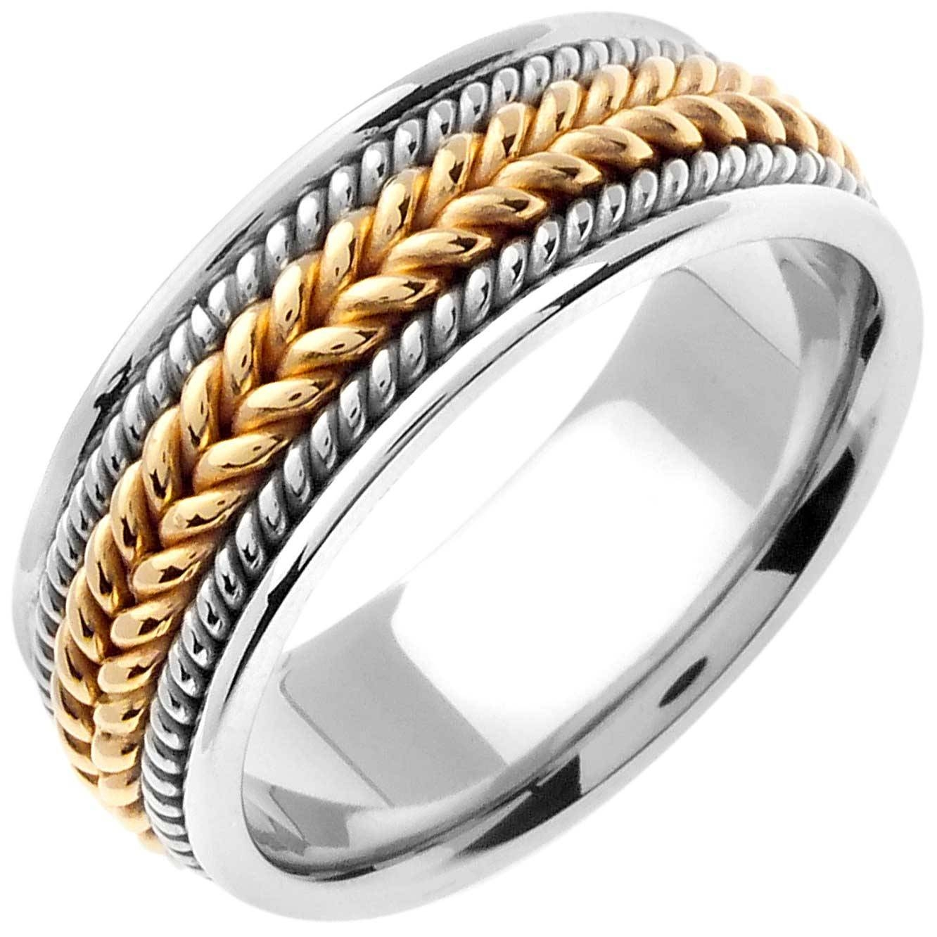 14K Two Tone Gold Rope Braid Band 8Mm  3000176 – Shop At Wedding In Mens Braided Wedding Bands (View 4 of 15)