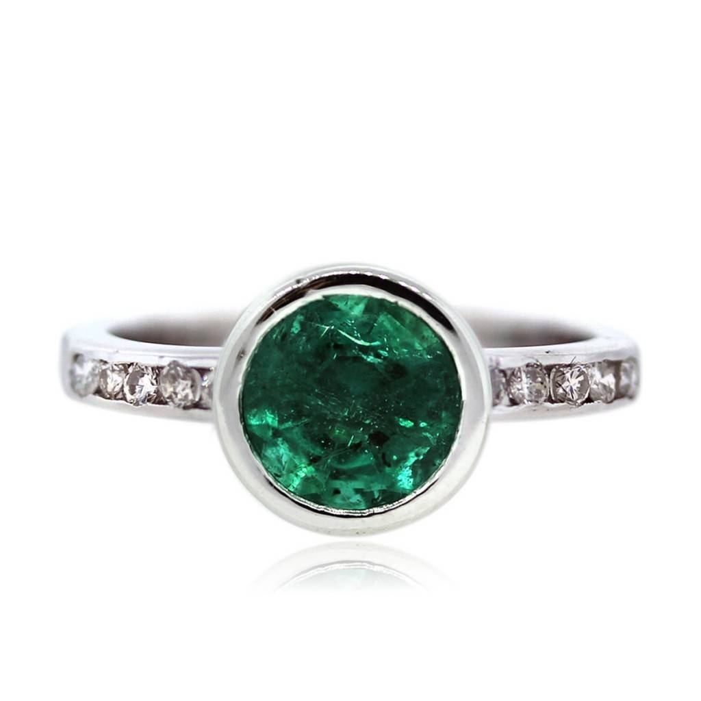 14K White Gold Bezel Set Emerald And Diamond Ring Boca Raton For Emerald Engagement Rings White Gold (View 2 of 15)