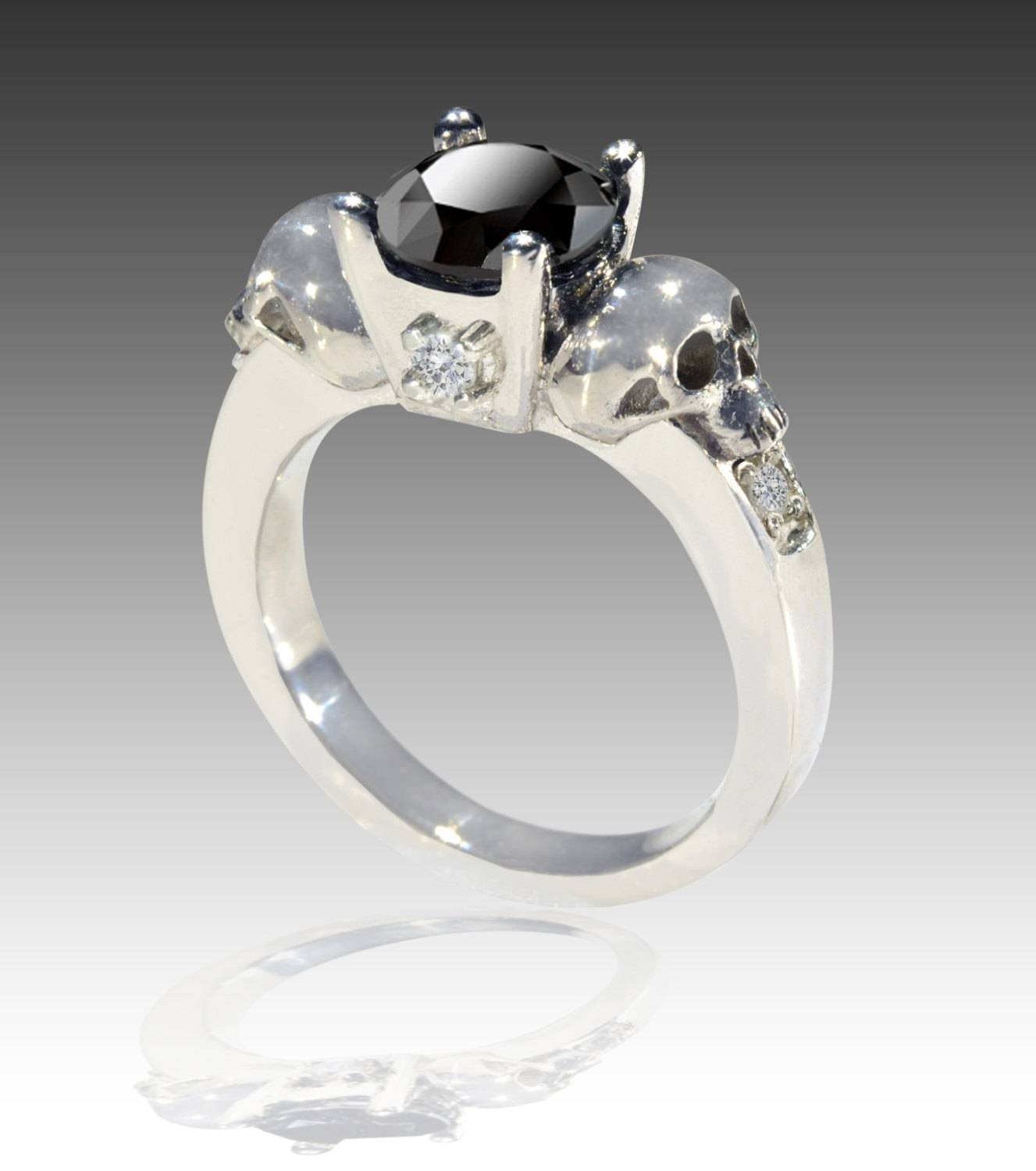 Featured Photo of Black Diamond Skull Engagement Rings