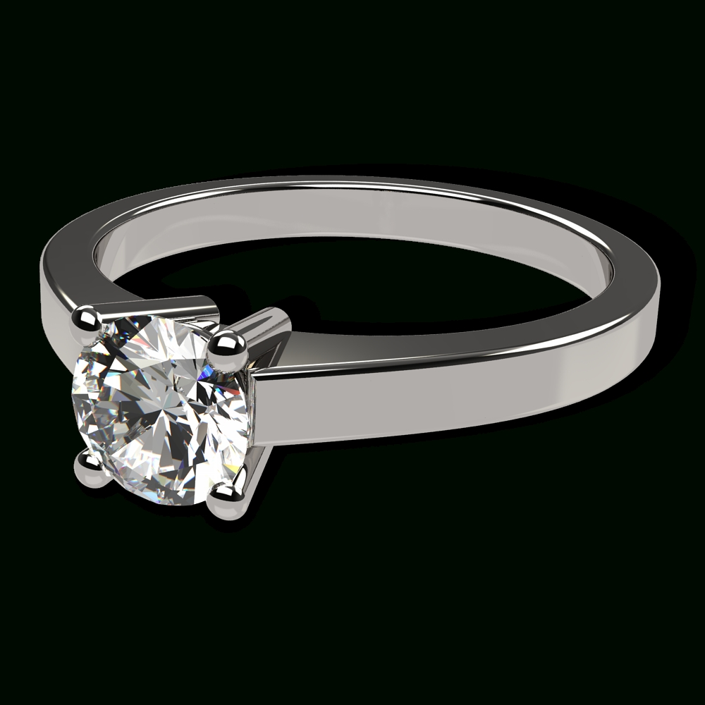 14K White Gold Classic Flat Engagement Ring Within Flat Engagement Rings (View 3 of 15)