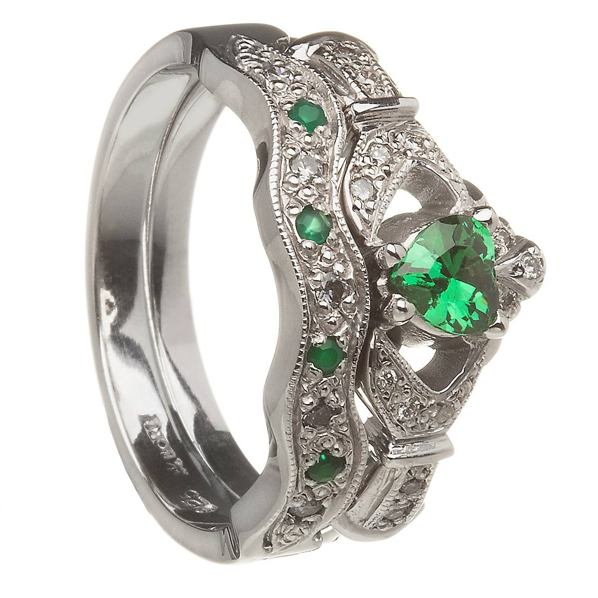14K White Gold Emerald Set Heart Claddagh Ring & Wedding Ring Set Intended For Diamond Claddagh Engagement & Wedding Ring Sets (View 1 of 15)