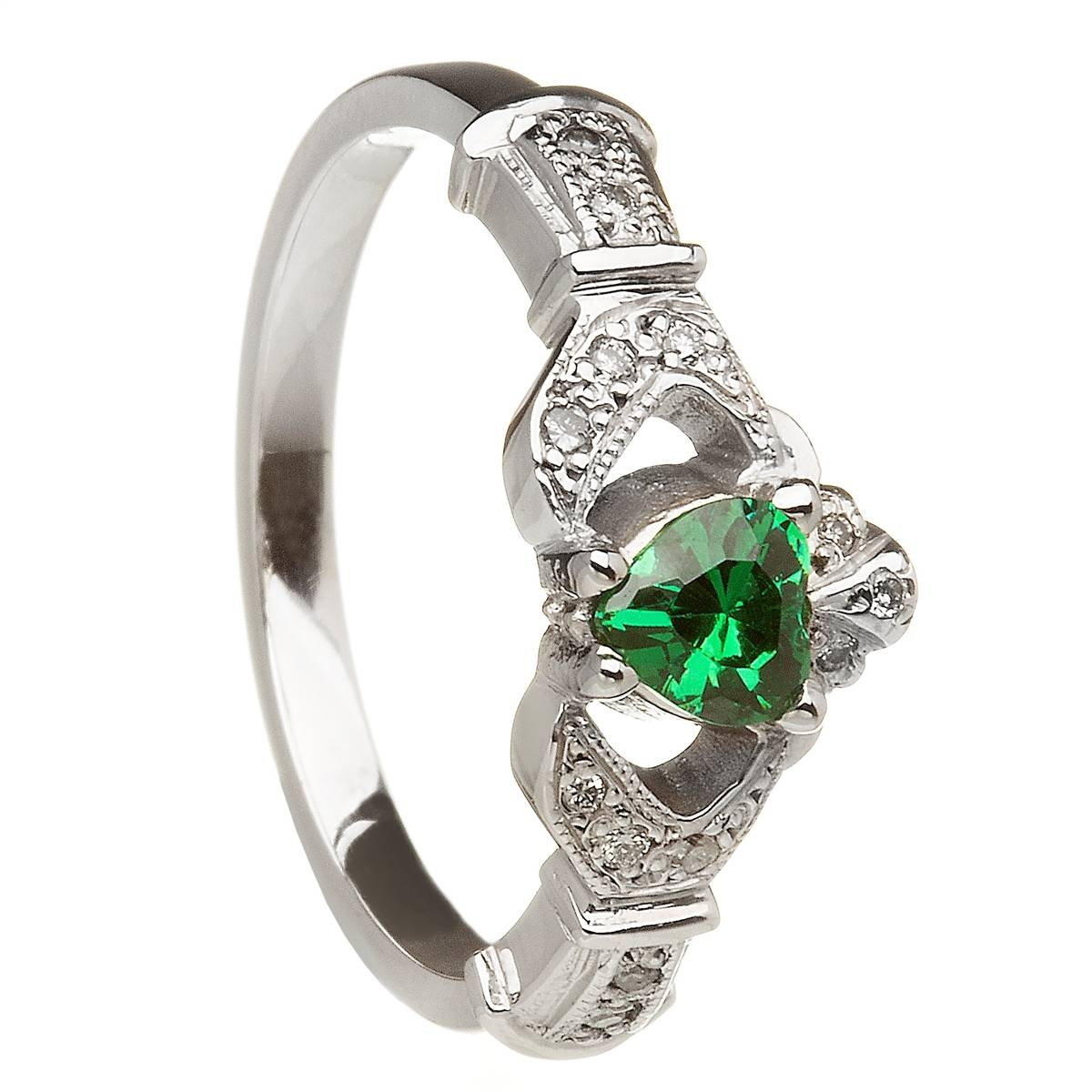14K White Gold Emerald Set Heart Claddagh Ring & Wedding Ring Set With Regard To Claddagh Rings Engagement Diamond (View 15 of 15)