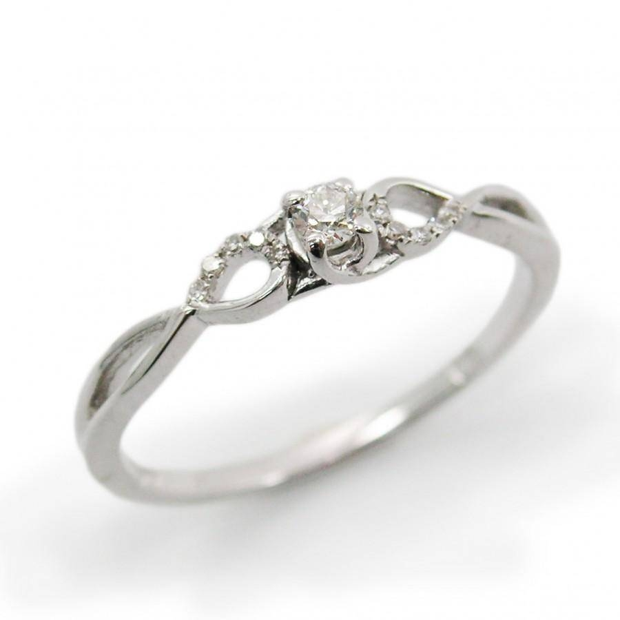 14K White Gold Engagement Ring. Diamond Engagement Ring. Classic Intended For Infinity Knot Engagement Rings (Gallery 4 of 15)