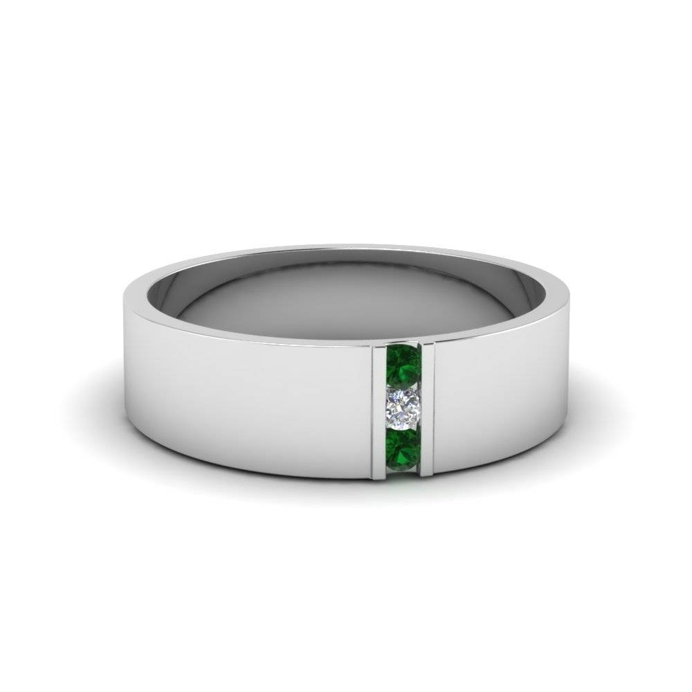 14K White Gold Green Emerald Men's Wedding Band | Fascinating Diamonds For Men's Wedding Bands Emerald (View 1 of 15)