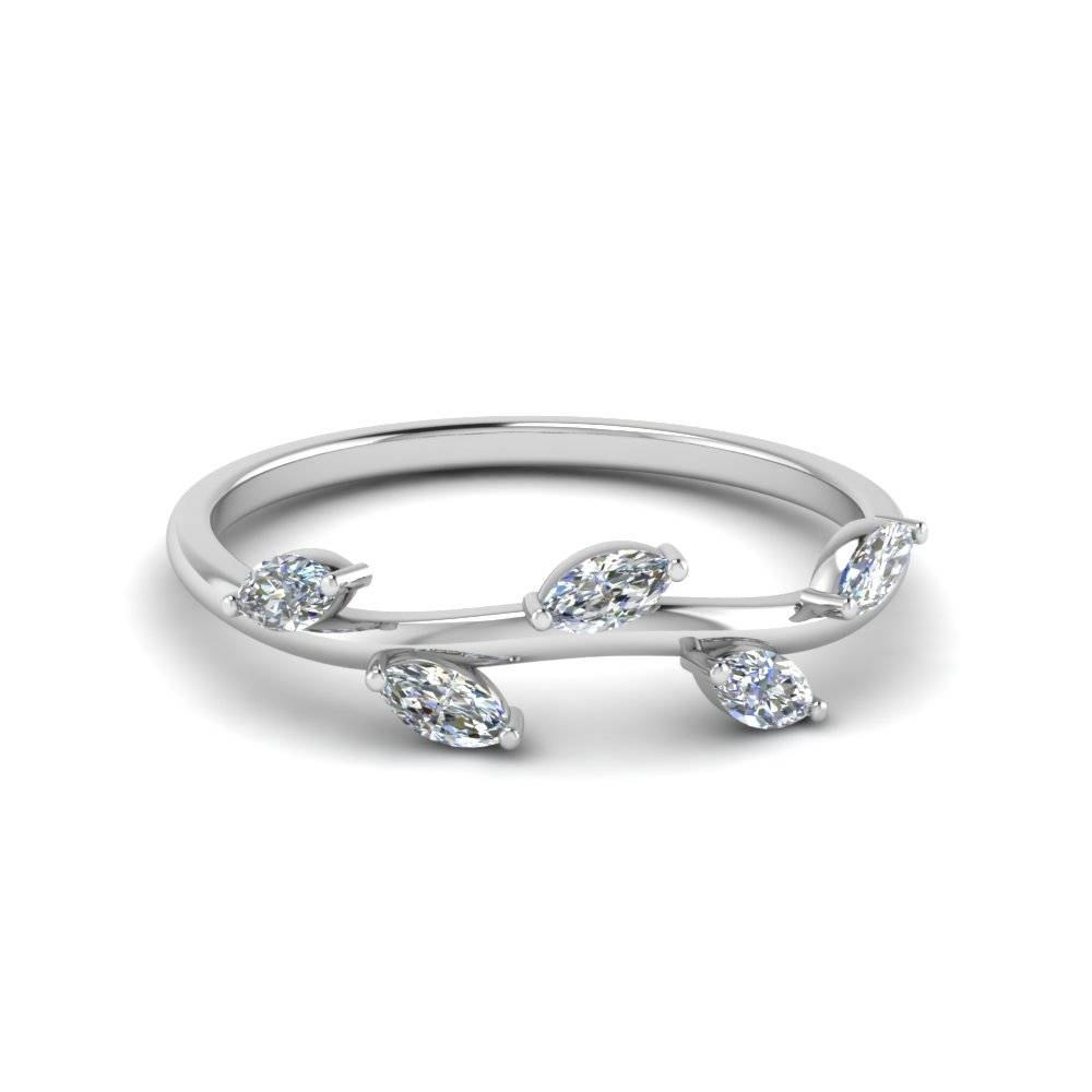 14K White Gold Marquise Shaped White Diamond Wedding Band Pertaining To Marquis Wedding Bands (View 8 of 15)