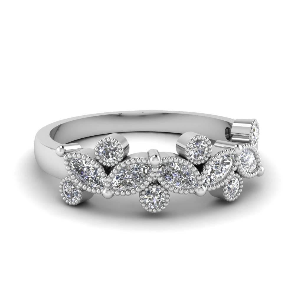 14K White Gold Marquise Shaped White Diamond Wedding Band With Marquis Wedding Bands (View 5 of 15)