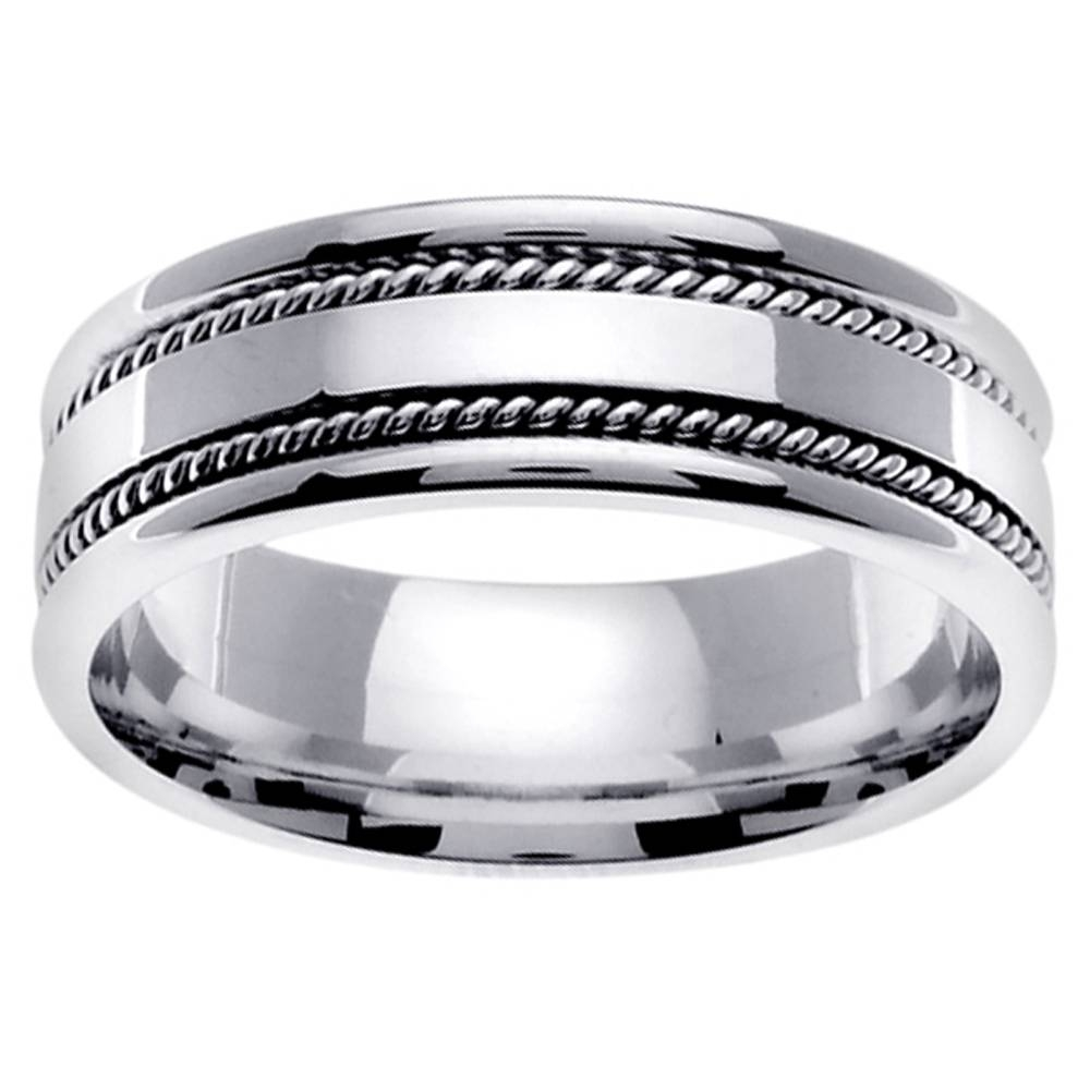 14K White Gold Mens Hammered Wedding Band 13841905 Overstock Com Inside Overstock Wedding Bands (View 2 of 15)