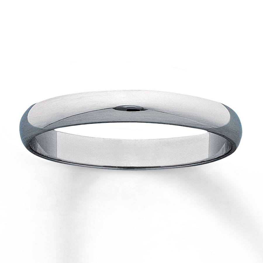 14K White Gold Mens Satin Wedding Band 13841933 Overstock Com With Overstock Womens Wedding Bands (View 2 of 15)