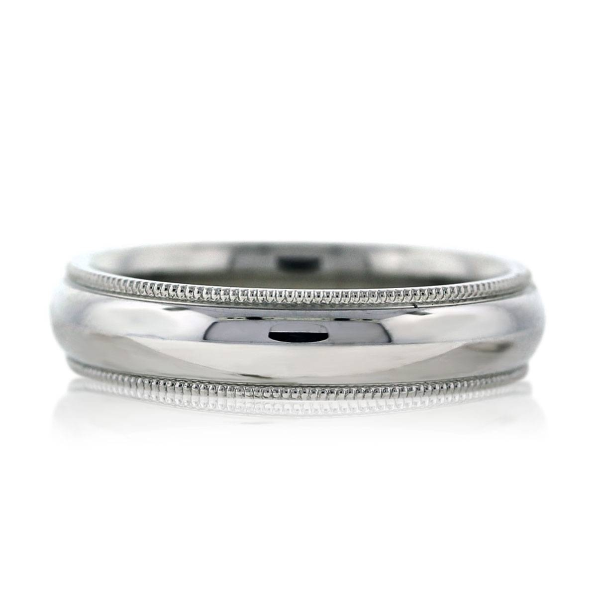 14K White Gold Milgrain Mens Wedding Band Ring Boca Raton Throughout Harry Winston Men Wedding Bands (View 1 of 15)