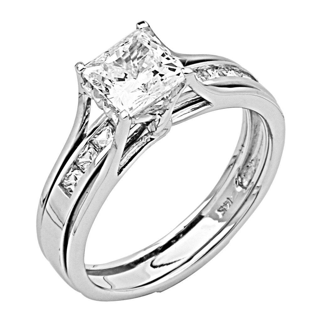 14K White Gold Princess Cut Cz Cubic Zirconia Engagement Ring Pertaining To White Gold Zirconia Wedding Rings (View 2 of 15)
