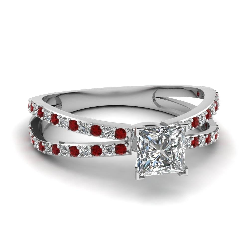 14K White Gold Princess Cut Red Ruby Engagement Rings In Princess Cut Ruby Engagement Rings (View 4 of 15)