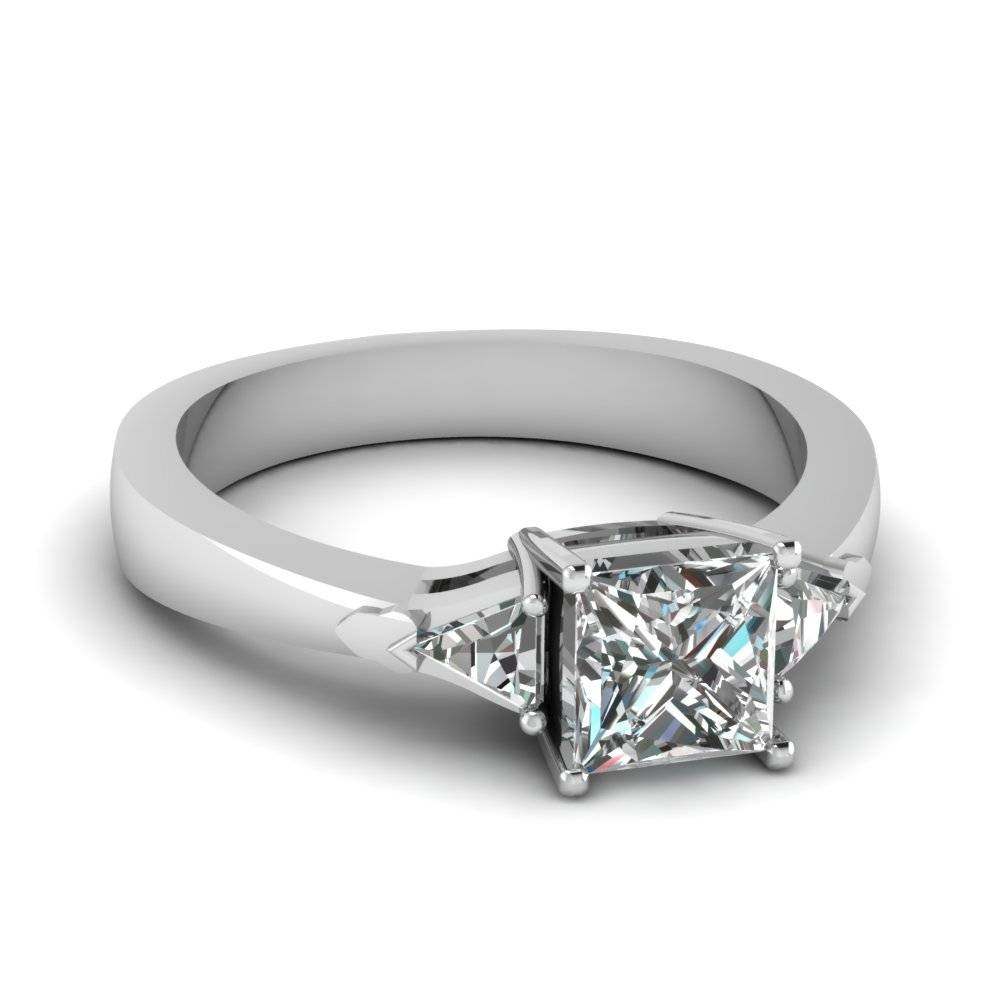 14K White Gold Princess Cut Trillion Three Stone Diamond With Regard To Trinity Diamond Engagement Rings (View 1 of 15)