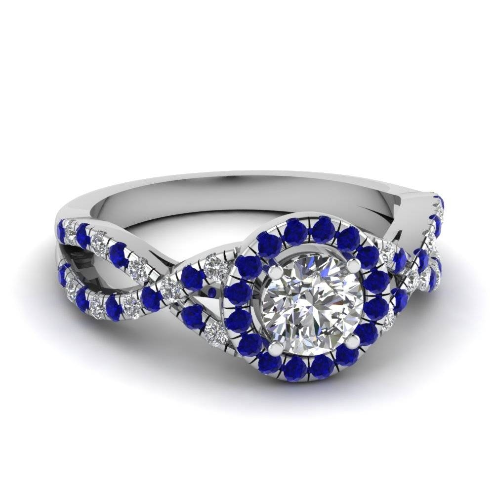 14K White Gold Round Cut Halo Engagement Rings | Fascinating Diamonds In Wedding Rings With Sapphire And Diamonds (View 1 of 15)