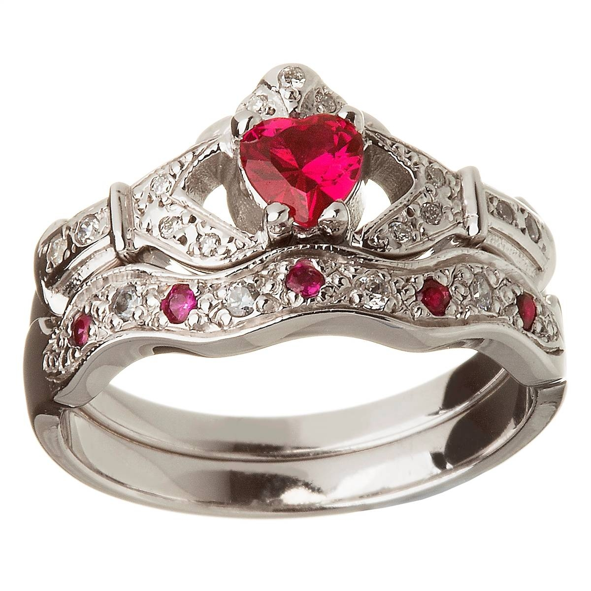 14k White Gold Ruby Set Heart Claddagh Ring & Wedding Ring Set Throughout Claddagh Diamond Engagement Rings (View 7 of 15)