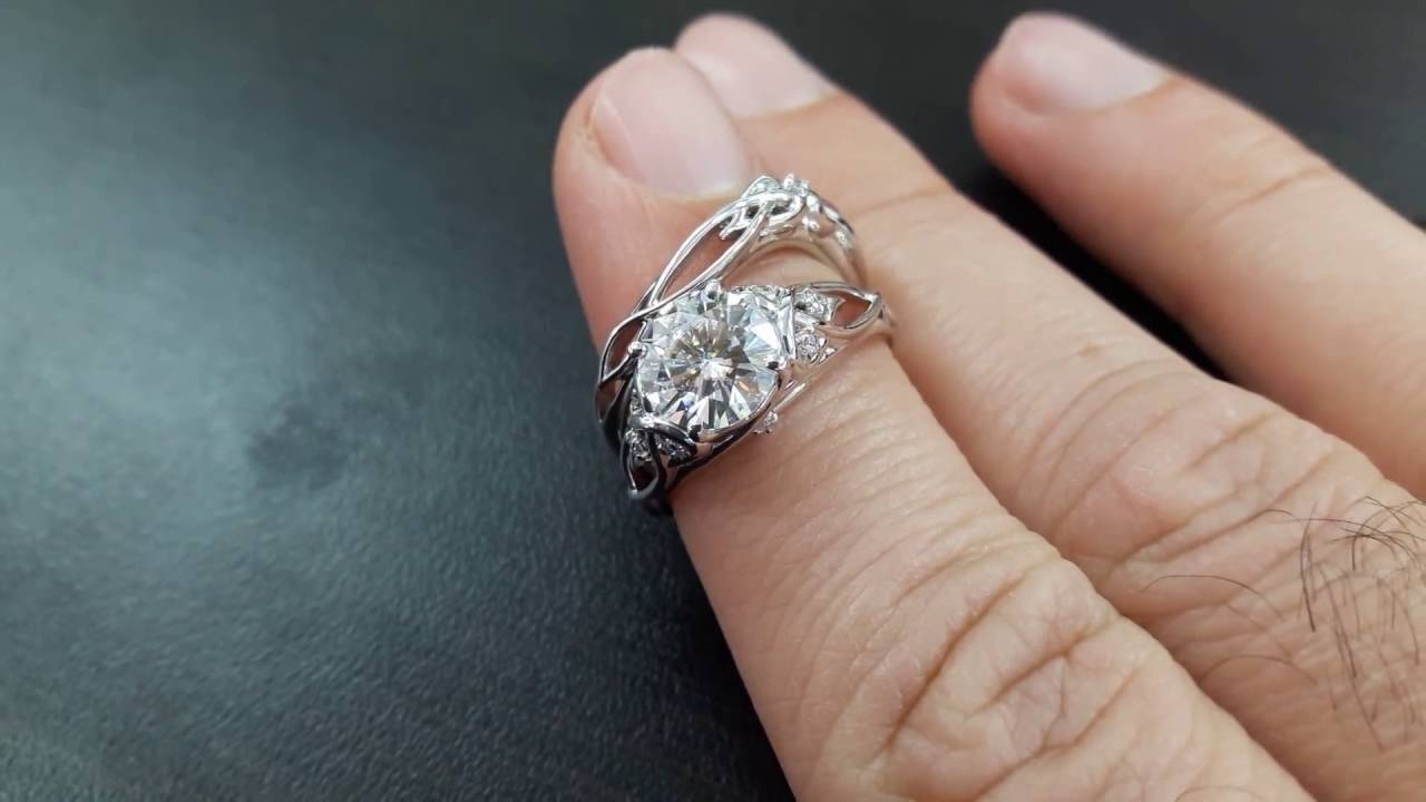 14K White Gold Unique Engagement Rings 2 Carat Forever One In One Rings Engagement Rings (View 1 of 15)
