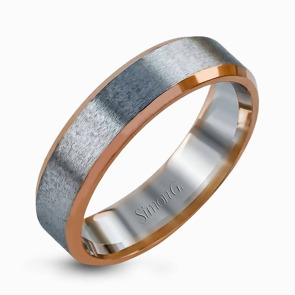 14k White & Rose Gold Brushed Metal Men's Wedding Band – Simon G (View 8 of 15)