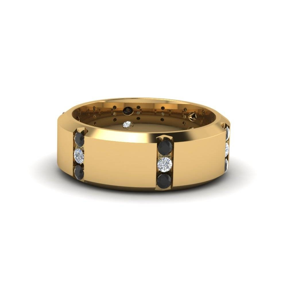14K Yellow Gold Black Diamond Men's Wedding Band | Fascinating Intended For Black And Gold Mens Wedding Bands (View 1 of 15)